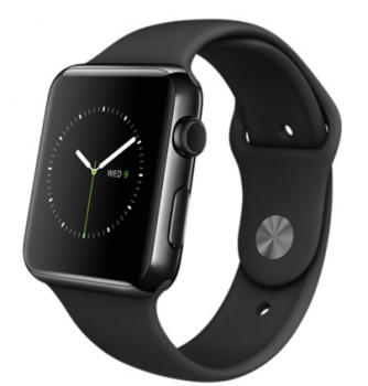 Apple Watch 42mm Space Black Steel Case with Black Sport Band